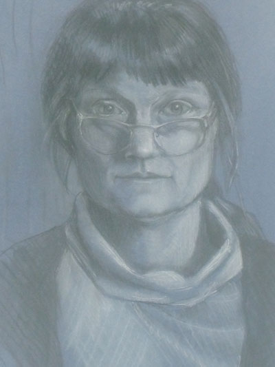 Self-portrait in charcoal and white chalk