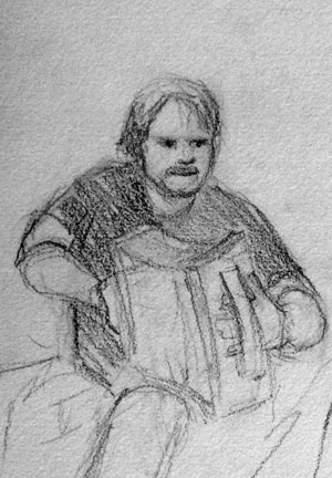 Pierre-Luc Dupuis, accordion and harp player. He's seated in this sketch, but he was just about to stand up and do a little dance.