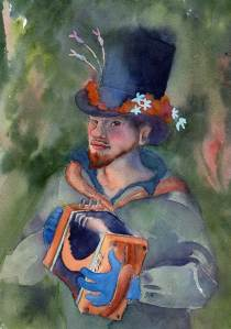 Reynard's accordion 2009 Margaret Sloan Watercolor