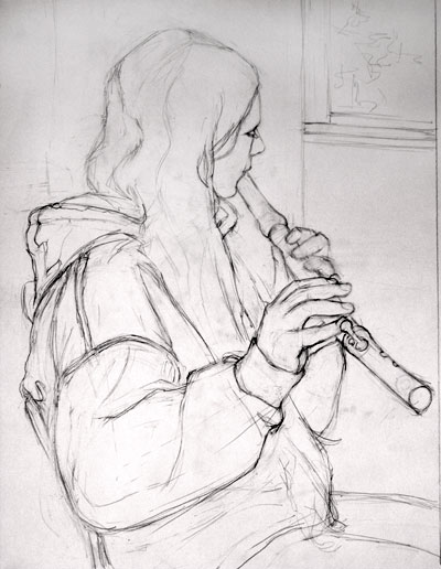 Fluteplayer <br />  <br>© 2009 Margaret Sloan<br /> <i>Graphite </i>