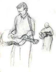 One of the Winton boys playing dobro and a small sketch of the dad playing guitar.
