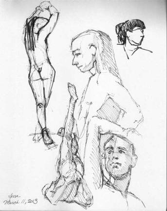 5 minute gesture drawings with Micron Pigma pens on card stock
