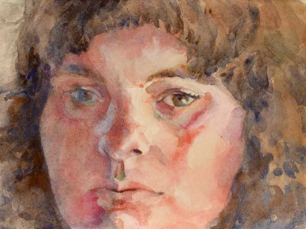 Watercolor painting of a young woman's face