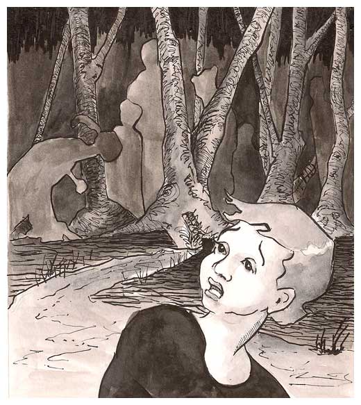 Girl running from monsters in the Woods