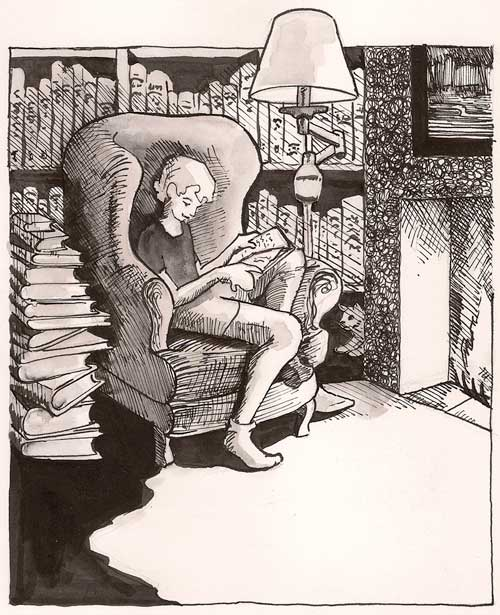 Girl reading by fireplace