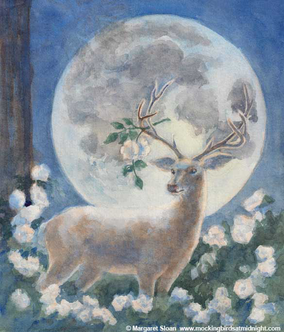 White deer in roses