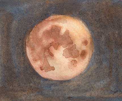 Watercolor sketch of moon