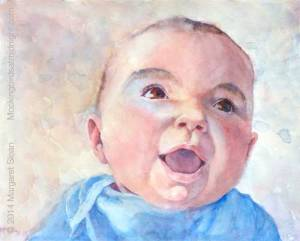 Watercolor of laughing baby