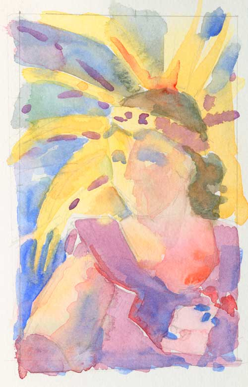 "Study for painting 3"" x 5"" watercolor painting"