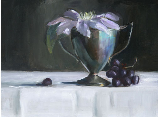 Clematis in Silver Goblet