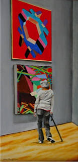 Woman in gallery painting