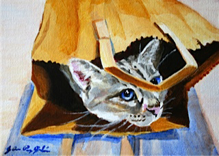 Cat in bag painting