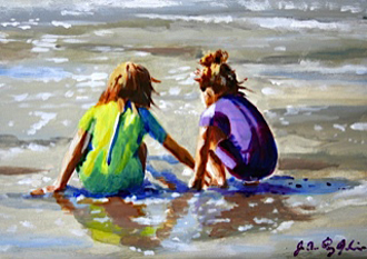 Girls on beach painting