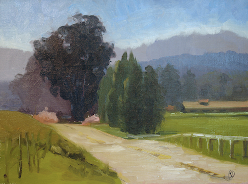 "Nicasio Road 24"" x 18"" Oil on linen © 2014 Sylvia Dahlgren"