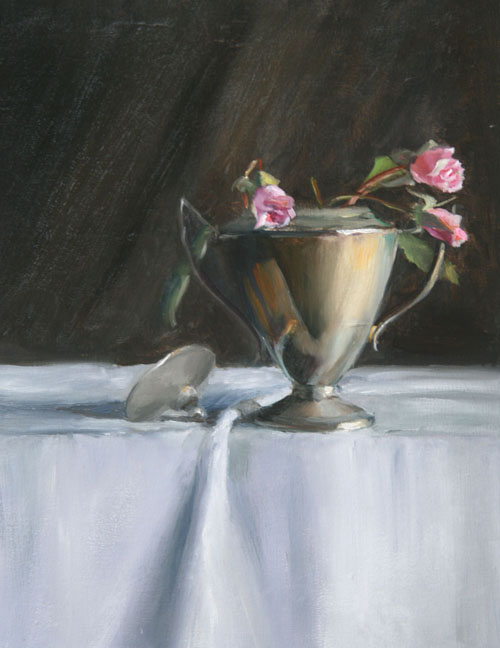 Roses in Silver Goblet