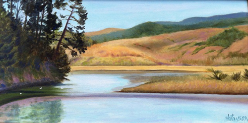 "Bolinas Lagoon 10"" x 20"" Oil on canvas © Denise Natanson-Marcus"