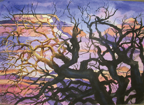 Gnarled Tree at Canyon Rim Watercolor © 2014 Karen Olsen