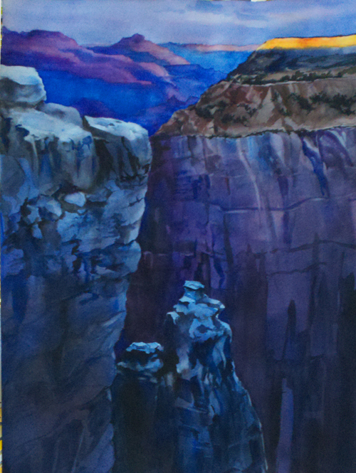 Late Light at Grand Canyon Watercolor © 2014 Karen Olsen
