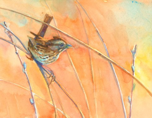 Painting of sparrow