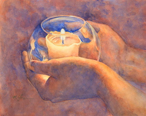 A candle for Rob Watercolor on #300 Arches © 2014 Margaret Sloan