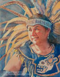 Painting of Aztec dancer