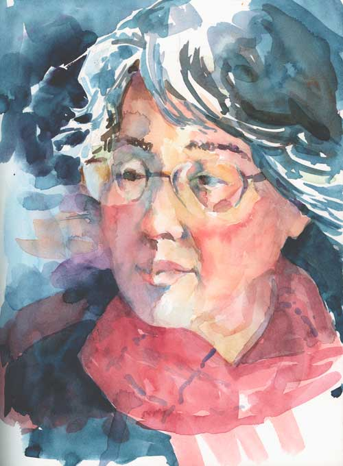 Portrait of Lee Watercolor in 500 Series Mixed Media Hardbound Art Journal