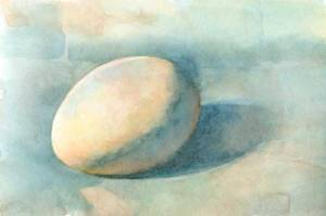 Egg 2 (First state) Watercolor on Arches #300 hot press