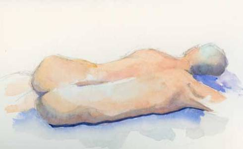 Reclining figure watercolor and graphite on #300 Arches hot press