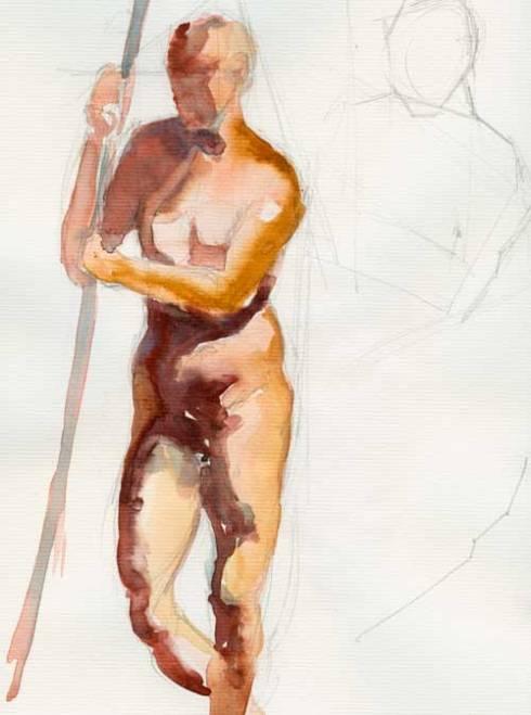 Standing figure Watercolor on Biggie watercolor paper