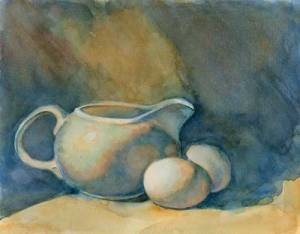 Milk Creamer and Eggs (State 2) Watercolor on #300 Arches hot press