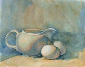 Milk Creamer and Eggs Watercolor on #300 Arches hot press
