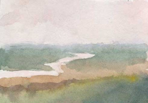 """Distant water 3.5"""" x 2.5""""  watercolor in Strathmore Mixed Media Journal"""