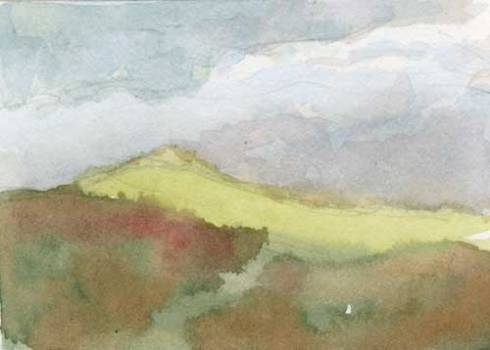 """Green Hill 3.5"""" x 2.5""""  watercolor in Strathmore Mixed Media Journal"""