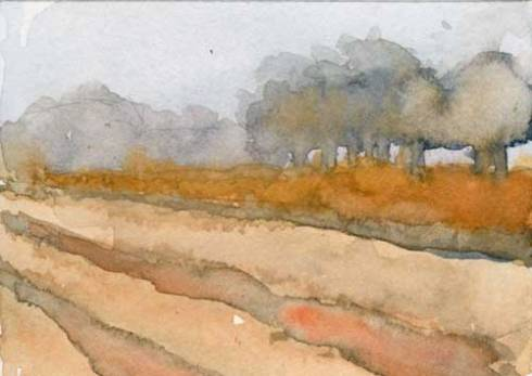 """Fallow field 3.5"""" x 2.5""""  watercolor in Strathmore Mixed Media Journal"""