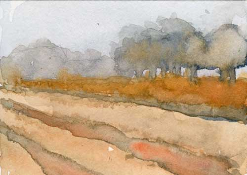 "Fallow field 3.5"" x 2.5""  watercolor in Strathmore Mixed Media Journal"