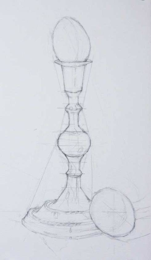 Graphite on paper underdrawing for beginning a painting