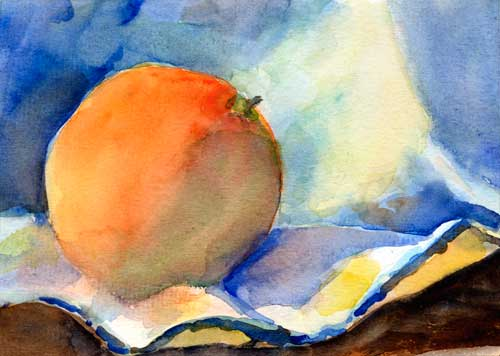 "Orange with cloth 5"" x 7"" watercolor on #140 Canson cold press"
