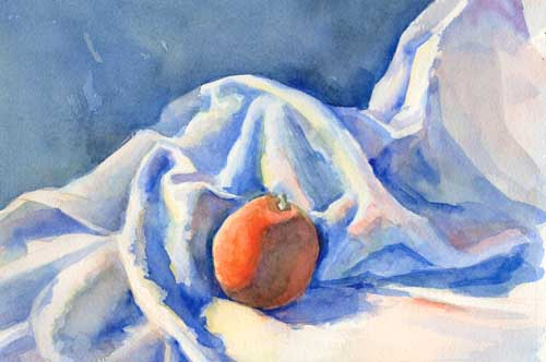 Watercolor painting of dishcloth and orange