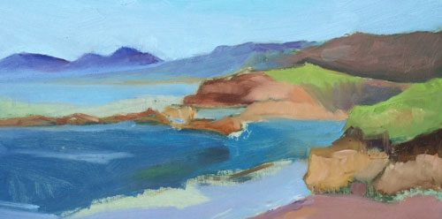 Landscape in oils of Pescadero Beach. Sometimes we all must fail.