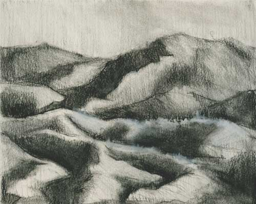 Mountains drawn in charcoal