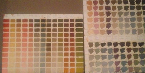 Prepainted color charts ease the pain of making the right color mixtur.