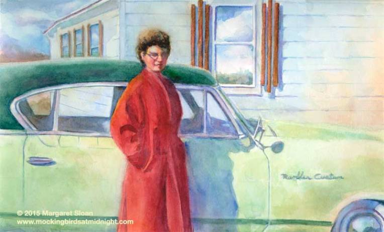 Watercolor of girl with car
