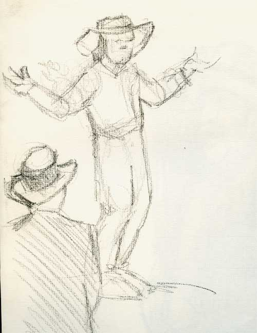 Charcoal drawing of speechifying