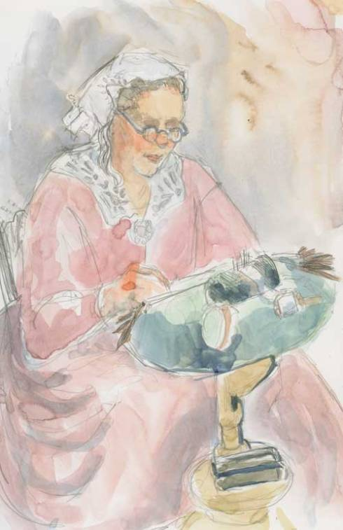 Carol Bassoni, Lace Maker Watercolor over graphite in Stillman & Birn Zeta series sketchbook