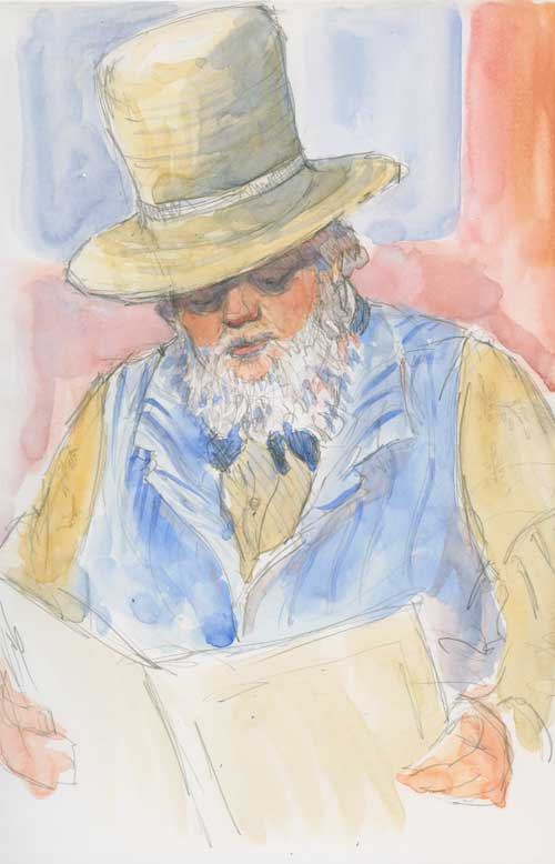 Professor Flatbroke B. Dodge, Phrenologist Watercolor over graphite in Stillman & Birn Zeta series sketchbook