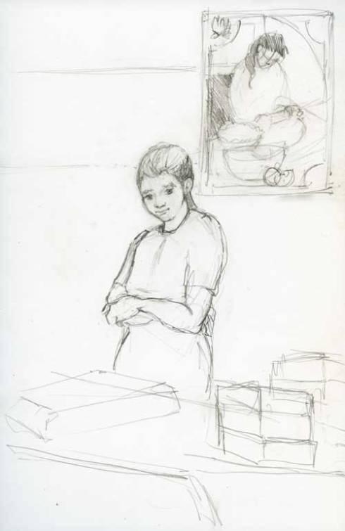 Market Baker Pencil sketch in Stillman & Birn Zeta Series Sketchbook