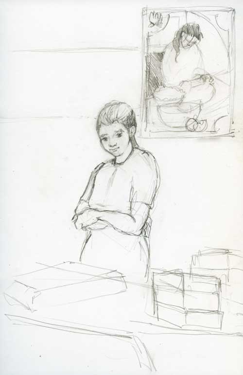 Market Baker Pencil sketch in Stillman & Birn Zeta Series Sketchbook