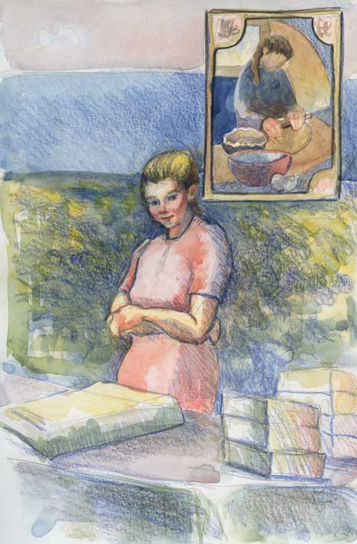 Market Baker Watercolor and color pencil in Stillman & Birn Zeta Series Sketchbook