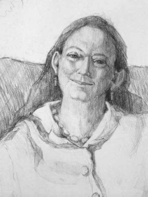 Charcoal portrait from life with photo assist.