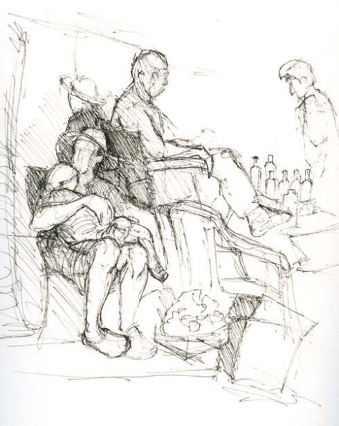 Sketching at the Farmer's market Nap time Micron pen in Stillman & Birn Delta Series sketchbook